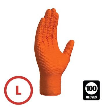 Gloveworks 8 Mil Orange Diamond Grip Nitrile Gloves Large - 100 Gloves Per Box