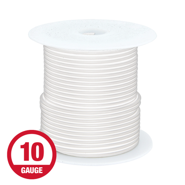 Primary Wire 10 Gauge White 100' Spool