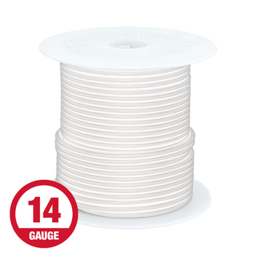 Primary Wire 14 Gauge White 100' Spool
