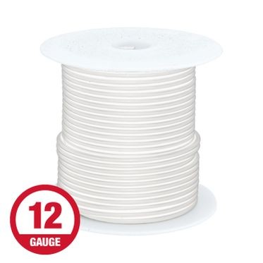 Primary Wire 12 Gauge White 100' Spool