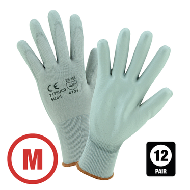 Gray Polyurethane Coated Nylon Glove Medium - 12 Pairs Per Bag