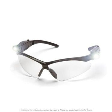 PMXTREME Anti-Fog Clear Lens/Black Frame and Pivoting LED Temples Safety Glasses