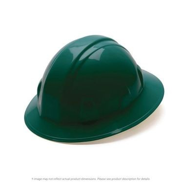 Green 4-Point Ratchet Full Brim Hard Hat