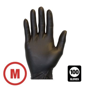 Black Disposable Powder Free Nitrile Glove Medium - 100 Gloves Per Box