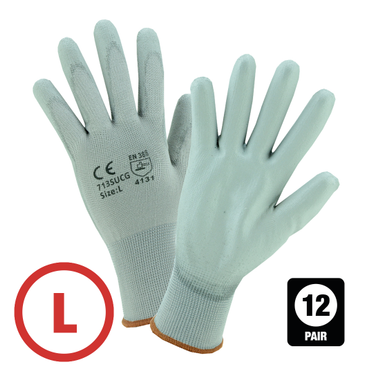 Gray Polyurethane Coated Nylon Glove Large - 12 Pairs Per Bag
