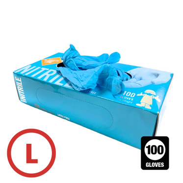 Disposable Powder Free Nitrile Glove Large - 100 Gloves Per Box