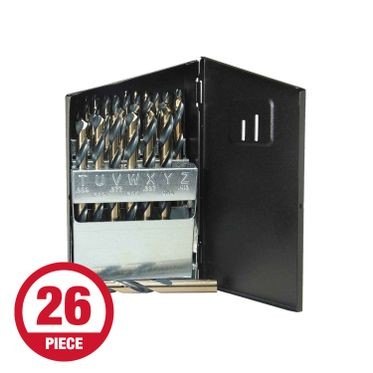 Heavy Duty Letter Metal Drill Bit Set - 26 Pieces