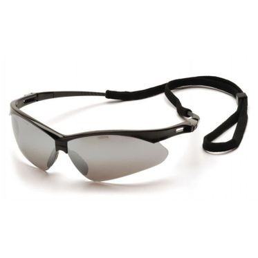 PMXTREME Silver Mirror Lens/Black Frame Safety Glasses