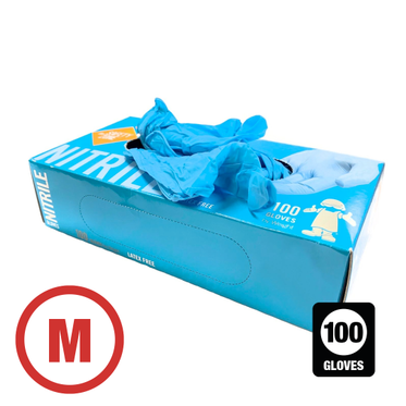 Disposable Powder Free Nitrile Glove Medium - 100 Gloves Per Box
