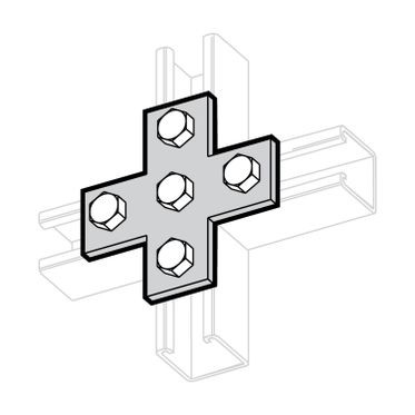 Zinc Plated Cross Plate 5-Hole