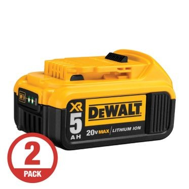DeWalt 20V 5.0 AH XR Li-Ion Battery (2 Per Pack)