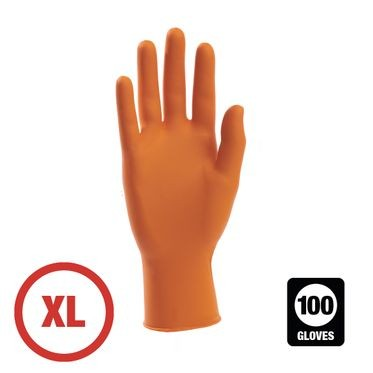 Orange Disposable Powder Free Nitrile Glove XL - 100 Gloves Per Box