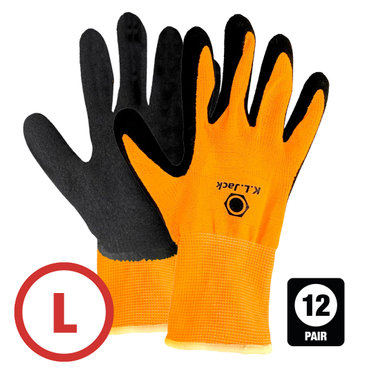 Hi-Vis Nylon Foam Latex Dip Glove Large - 12 Pairs Per Bag