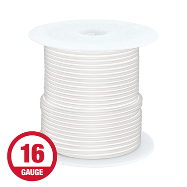 Primary Wire 16 Gauge White 100' Spool