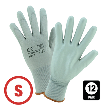 Gray Polyurethane Coated Nylon Glove Small - 12 Pairs Per Bag