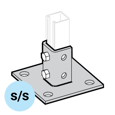 Stainless Steel Square Strut Base 6-Hole Mount