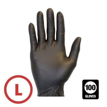 Black Disposable Powder Free Nitrile Glove Large - 100 Gloves Per Box