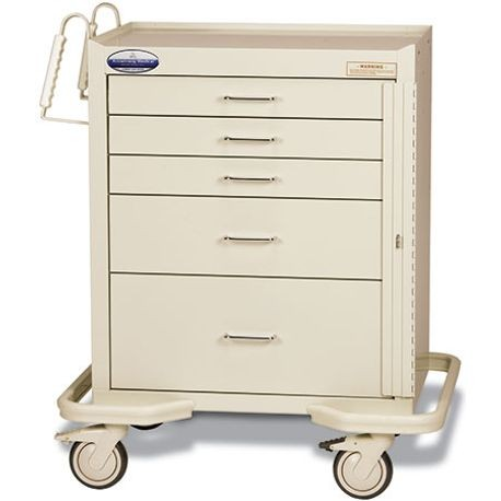 "Standard Steel 24"" 5-Drawer, Breakaway Locking Emergency Cart, Beige"