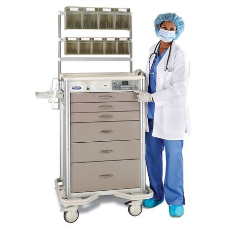 "Aluminum 30"" 6-Drawer Wireless Auto-Locking Cart with Controlled Substance Drawer, Taupe"