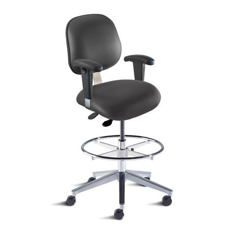 Anesthesia Chair with Arms, Black, Non-Conductive, Naugahyde