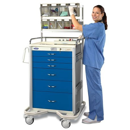 "Aluminum 30"" 6-Drawer Electronic Touchpad Cart, Deep Blue"
