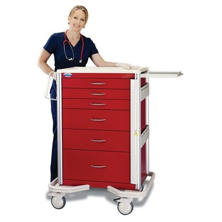 "Premier Aluminum 30"" 6-Drawer, Breakaway Locking Emergency Cart, Red"