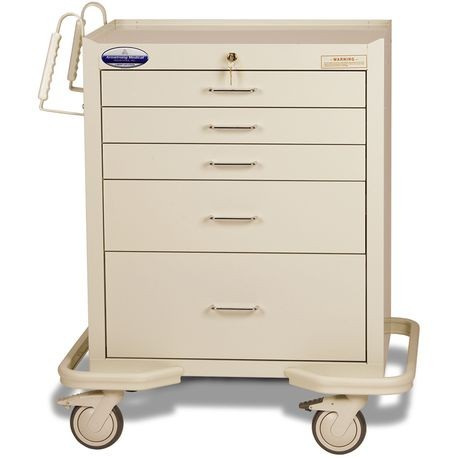 "Standard Steel 24"" 5-Drawer Key Locking Cart, Beige"