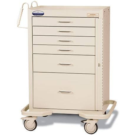 "Standard Steel 30"" 6-Drawer, Breakaway Locking Emergency Cart, Beige"
