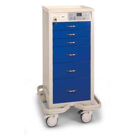 "Aluminum 30"" 6-Drawer Wireless Auto-Locking Narrow Cart, Deep Blue"