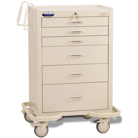"Standard Steel 30"" 6-Drawer Key Locking Cart, Beige"
