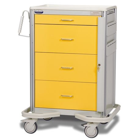"Aluminum Premier 30"" 4-Drawer Key Locking Cart, Yellow"