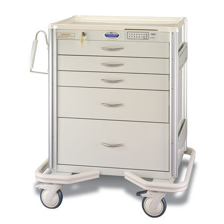 "Aluminum 24"" 5-Drawer Auto-Locking Cart, Beige"