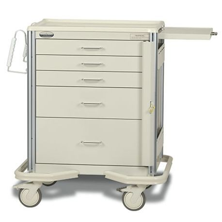 "Premier Aluminum 24"" 5-Drawer, Breakaway Locking Emergency Cart, Beige"