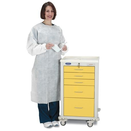 "Steel 24"" 5-Drawer Key Locking Mini Cart, Yellow"