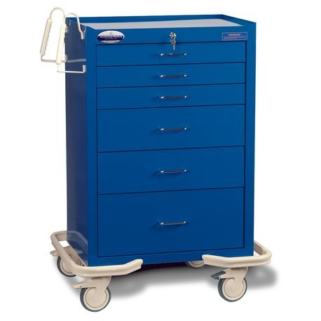 "Standard Steel 30"" 6-Drawer Key Locking Cart, Deep Blue"