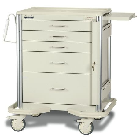 "Aluminum Premier 24"" 5-Drawer Key Locking Cart, Beige"