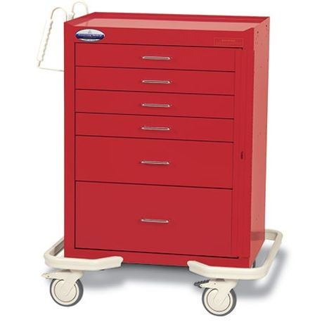 "Standard Steel 27"" 6-Drawer, Breakaway Locking Emergency Cart"