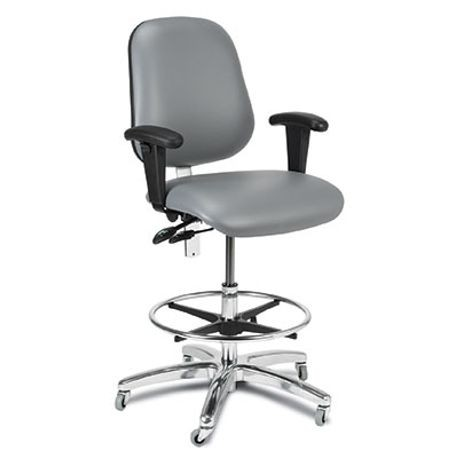 Wide-Seat Anesthesia Chair with Adjustable Arms, Black