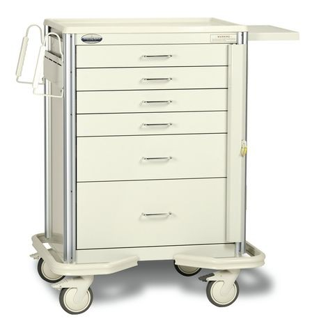 "Premier Aluminum 27"" 6-Drawer, Breakaway Locking Emergency Cart, Beige"