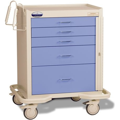 "Standard Steel 24"" 5-Drawer Breakaway Locking Emergency Cart, Lavender"