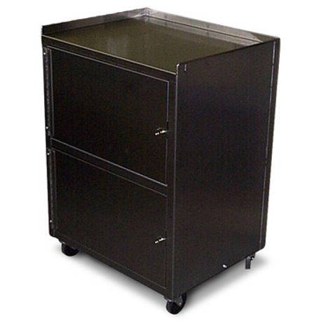 Stainless Steel Utility Cart With Dual Locking Cabinets