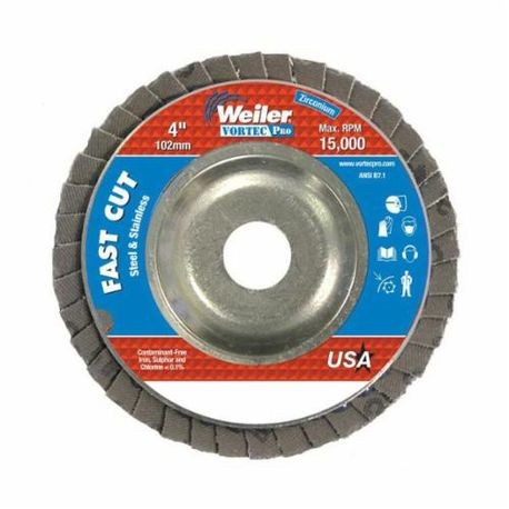 Vortec Pro 31341 Fast Cut Coated Flap Disc, 4 in Dia, 5/8 in, 120/Fine, Zirconia Alumina Abrasive, Type 29/Angled