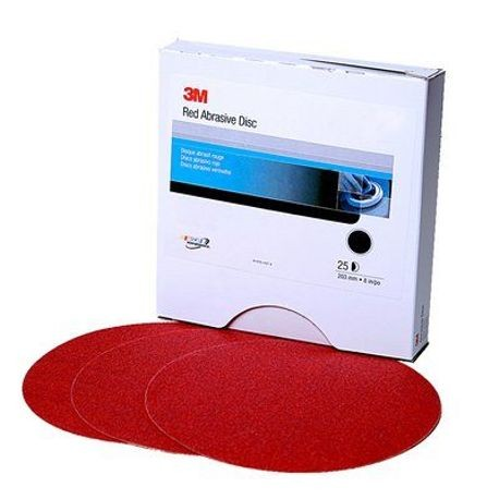 3M 05113101111 Red Abrasive Stikit Disc, 01111, 6in, P220 grade, 100 discs per roll
