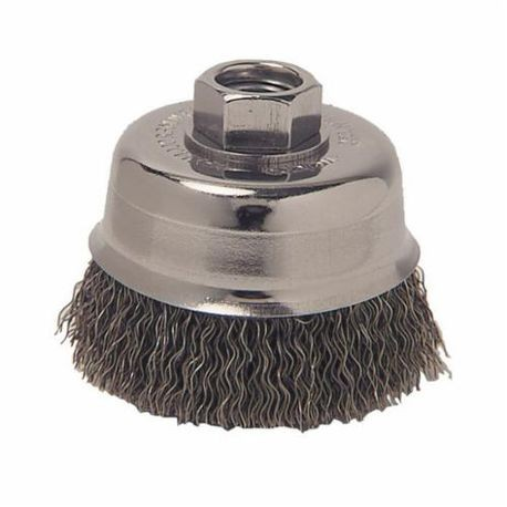 Vortec Pro 36031 Cup Brush, 3 in Dia, 5/8-11 UNC, 0.014 in Carbon Steel Crimped Wire