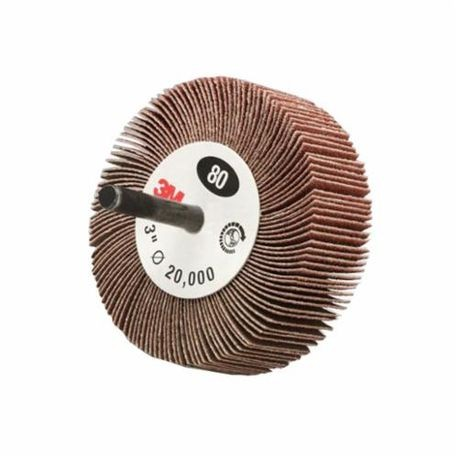 3M 244D General Purpose Type 83 Coated Flap Wheel, 2 in Dia x 1 in W, 1/4 in, 120/Fine, Aluminum Oxide Abrasive