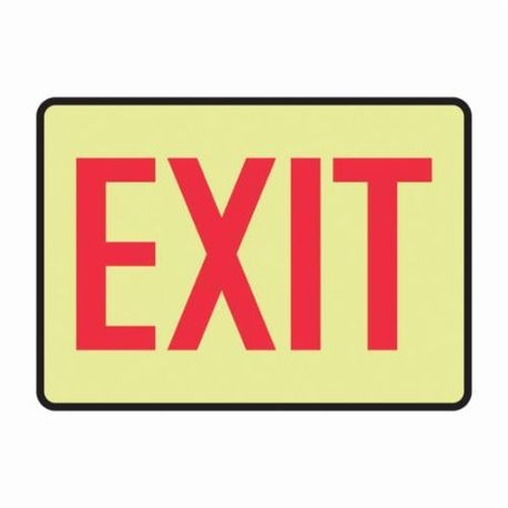 Accuform MADC500GF Exit Sign 7 in H x 10 in W Red on Yellow Surface Mount Lumi-Glow Flex