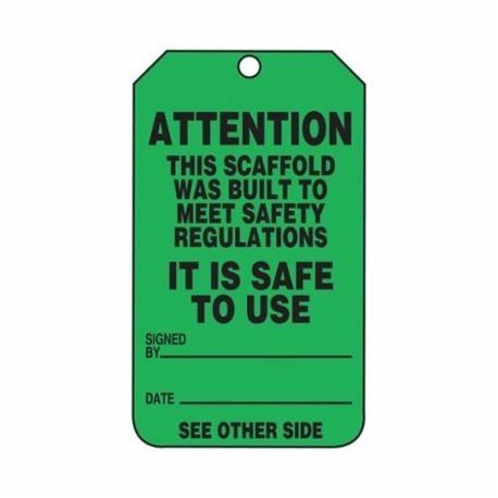 Accuform TRS328PTP High Strength Tear Resistant Scaffold Status Tag, 5-3/4 in H x 3-1/4 in W, Black/Green, 3/8 in Hole