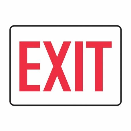 Accuform MADC531VA Exit Sign, 7 in H x 10 in W, Red on White, Surface Mount, Aluminum