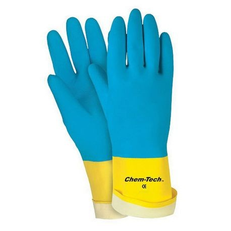 Memphis 5410E-L Double Dipped Economy Grade Non-Sterile Unsupported Chemical Resistant Gloves With Black Logo, L