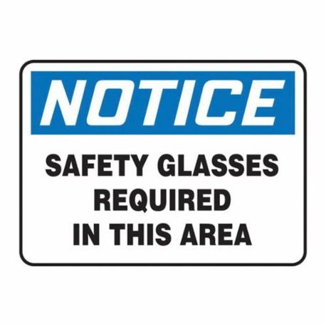 Accuform MPPE854VS Moisture Resistant Notice Sign, 7 in H x 10 in W, Black/Blue on White, Surface Mount, Adhesive Vinyl